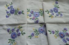 Hand embroidered tablecloth, pretty purple flowers in exquisite compact stitches