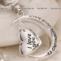 Silver I love you to the moon and back Heart Necklace Present Gift for Her Women