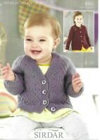 Sirdar Double Knitting Pattern 4582, Baby Cardigan, Diamond Design Birth -7yrs