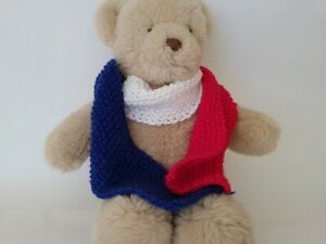 Teddy Bear Clothes, Red, White and Blue Hand Knitted Scarf