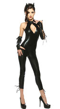Sexy Black Cat Woman PU Leather Outfit Costume Set for Halloween & Cosplay Party