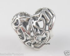 MUM~MOM 100% Authentic PANDORA Silver MOTHER'S DAY Openwork HEART Charm/Bead NEW