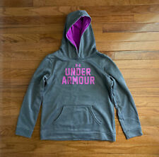 Girls UNDER ARMOUR Gray Purple Pullover Hooded Sweatshirt Hoodie Youth Large