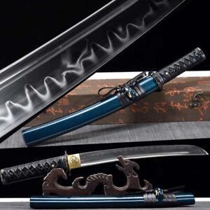 Handmade Clay Tempered T1095 High carbon Steel Samurai Tanto Blue Japanese Sword