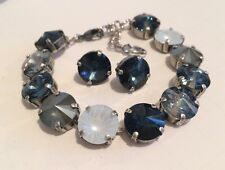 Swarovski Crystal Elements Blue Shades Bracelet Earrings 12mm Silver Cup Chain
