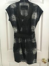 Yigal Azrouel Black & White Printed Mini Dress with Leather Belt and Chain Detai