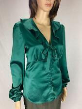 ** DIANA FERRARI ** Size 10 Green Button Ruffle Satin Corporate Shirt - (A591)