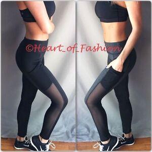 Women's Mesh Panel Cutout Activewear Yoga Athletic Workout Gym Pocket Leggings