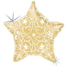 "18"" Filigree Gold Star Shape Balloon Wedding Baby Shower Birthday Holographic"