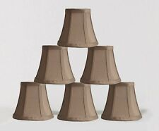 "Urbanest Chandelier Mini Lamp Shades,5"",Bell Silk,Taupe w/ Double Trim,Set of 6"