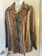 Alex Colman~Vtg 70's~Long Sleeve Blouse size 16 new with tags Arnel Feathers