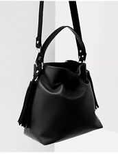 Zara NWT Black Hand Bag Bucket Bag Cross Body Bag Tassels Boho