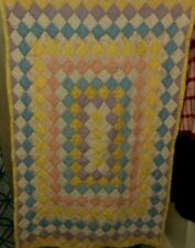 Vtg Homemade Baby Quilt Small Squares Hand Sewn Stitch Blue Pink Yellow 33x50