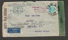 1944 WWII Brazil & US censor cover Sao Paulo to USA/advise your correct address