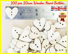 100 Wooden Hearts Button shapes Craft Ply Wood gift SEWING Embellishment Heart