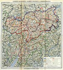 Alto Adige-Südtirol: Grande Carta Geografica: Confini Storici e Politici.1919