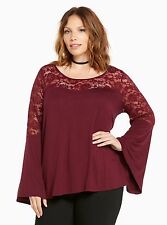 TORRID PLUS SIZE 4 4X 26 LACE BELL SLEEVE TOP SHIRT BLOUSE TUNIC GYPSY BOHO RED