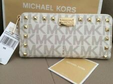 AUTHENTIC NWT! Michael Kors JET SET Studded Continental  Logo Zip Around Wallet