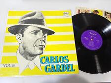 """CARLOS GARDEL EXITOS TANGOS VOL III LP VINYL VINILO 12"""" G+/VG MEXICO EDIT MUSART"""