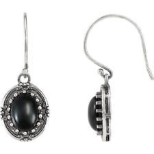 Sterling Silver Onyx Victorian Style Earrings