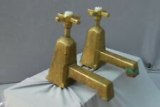 "OLD BRASS ART DECO BATH TAPS ANTIQUE PATINA LONG 5"" REACH FULLY REFURBISHED"