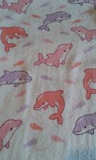 A DOLPHIN PINKS TOWEL, HAND TOWEL, CHILD'S COMFORTER, COSY BLANKET 100% COTTON