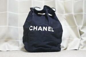 Chanel novelty vintage drawstring bag pool Shoulder Bag back black