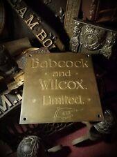 1890s Victorian Steam Babcock & Wilcox Brass Antique Plaque Renfrew U.K England