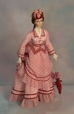 """For 27"""" Lady Doll 1870 Summer Visiting Dress Sewing Pattern #85"""
