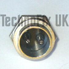 2 Pin Connettore in Metallo Rotondo Bloccaggio Pannello Chassis Presa (GX16-2)