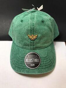 Nintendo Legend of Zelda Tri-force Bioworld Leather Adj Strap Brim Hat Green