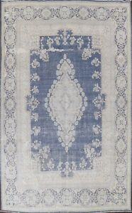 Muted Semi-Antique Kirman Evenly Low Pile Area Rug Distressed Hand-knotted 10x14