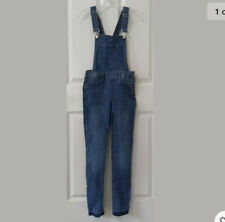 New H&M Divided Womens Stretch Overalls 6 Distressed Skinny Faded Adjustable