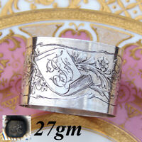 """Antique French .800 (nearly sterling) Silver 2"""" Napkin Ring, Flowers & Foliage"""