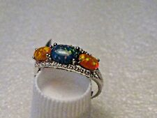 Silver Blue & Orange Opal Ring,  Band, Size 8, Rhodium Plated, 1.97gr