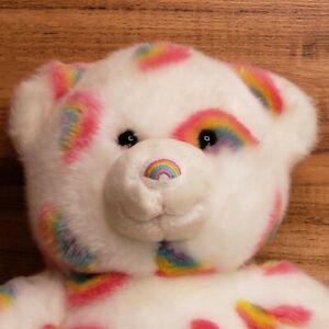 """Build A Bear Summer Season of Hugs White w/ Rainbow 15"""" Teddy Bear Plush"""