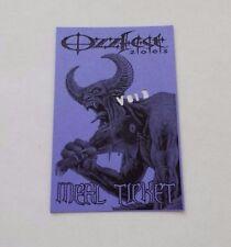 2003 Ozzfest Concert Tour Ozzy Osbourne Vip Meal Ticket Pass Badge