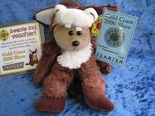 BEANIE KIDS BUCK THE DONKEY BEAR BK 438 GOLD COAST SHOW 2006 + VOUCHER RARE SOFT