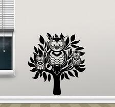 Owl Tree Wall Decal Bird Nursery Vinyl Sticker Nature Art Bedroom Decor 140nnn