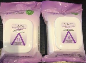 2 Almay Longwear Makeup Remover Cleansing Towelettes 25 Each