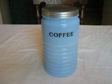 VINTAGE JEANNETTE GLASS CO DELPHITE COFFEE CANISTER IN V.G.C.