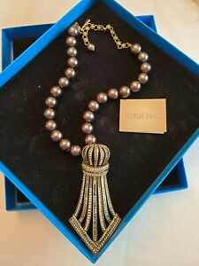 Heidi Daus ~ Gray Beaded Necklace with Beautiful Statement Accent Piece
