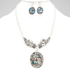 ABALONE TURTLE AND BURNISHED SILVER  FASHION  NECKLACE, & EARRING SET 8