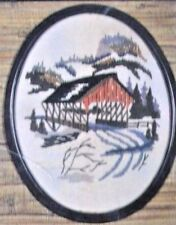 Covered Bridge Picture DUFFERIN Valley Craft Crewel Embroidery Kit w Frame 8X 10
