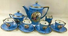 Vtg. Czechoslovakia Porcelain Corn Flower Blue 11-Piece Coffee Tea Service Set