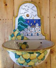 CERAMICA VIETRI Fontana In Ceramica Decorata A Mano  Paesaggio Con Limoni