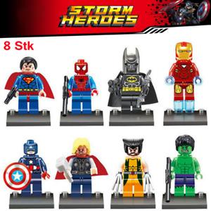 8 Stück Avengers Superhelden Superman Batman Hulk Minifiguren Bausteine Spielzeu