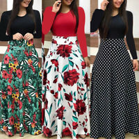 New Women Floral Maxi Dress Prom Evening Party Summer Beach Casual Long Sundress