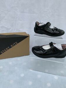 Startrite Twizzle Black Patent Girls School Shoes Size 7G