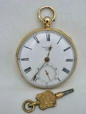 Reloj De Bolsillo Fine sólido 18k oro fusee clave viento mediados tamaño Cepillos Chester 1863
